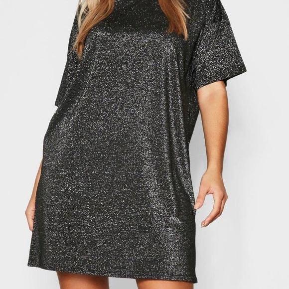 235c35016b Plus Size Glitter Metallic Oversized T-Shirt Dress
